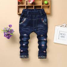 Girls Jeans <b>2018 Spring Autumn Children</b> Denim Jeans Fashion ...