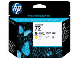 <b>HP</b> 72, <b>Печатающая головка</b> DesignJet, Черная матовая и Желтая