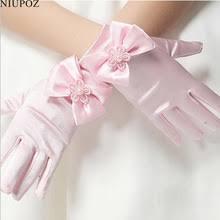 Милые эластичные <b>перчатки для девочек</b>, атласные Короткие ...