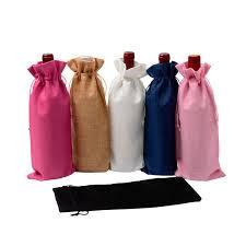 <b>15*35cm Rustic Jute Burlap</b> Bottle Bags Drawstring Wine Bottle ...