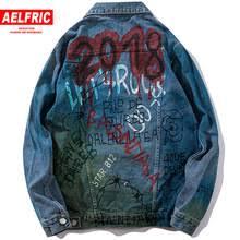 Harajuku граффити джинсовая <b>куртка мужская</b> Байкерская Turn ...