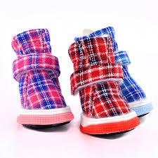 Plaid <b>New</b> Dog Shoes Winter Autumn <b>Pet</b> Snow Warm Boots <b>4pcs</b> ...