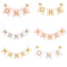 Baby <b>First Birthday</b> White Pink Chair Banner ONE Year <b>1st Birthday</b> ...