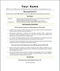 resume template  sample resume resume for medical receptionist    resume template