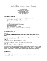 medical assistant resume experience experience resumes assistant resume examples x of medical assistant resume sample