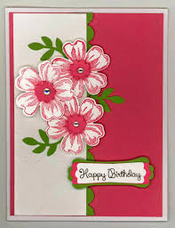 chatterbox creations birthday card for cousin junie i then went to work creating a decorative design for the inside to coordinate the front i decided the little boho punch flowers and rhinestones that i