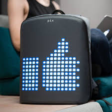 Pix <b>smart</b> urban backpack with <b>customizable LED</b> screen, Black ...