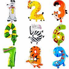 <b>1PCS 16inch Animal Number</b> Foil Balloons Kids Happy Birthday ...