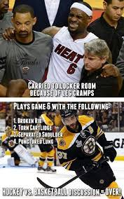 Hockey players are tough but NBA players get paid more. It's all ... via Relatably.com