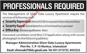security supervisor  security guard  office boy   silver oaks    email to friend   save job   print