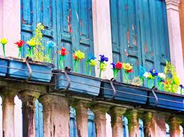 <b>Blown Glass flowers</b> on island of <b>Murano</b> Venice Italy 1 - 2 Travel Dads