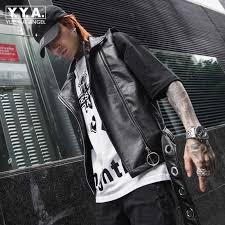 <b>2019</b> New Fashion <b>Mens</b> Rivet <b>Pu</b> Leather <b>Vest</b> Sleeveless <b>Jacket</b> ...
