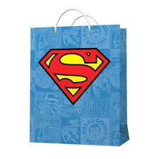 <b>Подарочный пакет</b> большой <b>Superman</b> (Супермен) голубой с <b>лого</b>