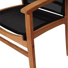extension table f: amazonia sc diandlx fort bk teak sling dining arm chair close up detail