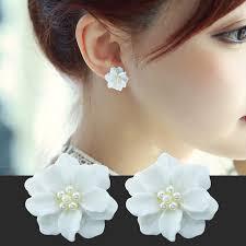 1 Pair <b>Korean</b> Temperament Small Fresh White <b>Flowers Pearl</b> ...