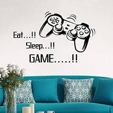 Holywin <b>Eat Sleep Game Wall</b> Stickers Boys Bedroom Letter DIY ...