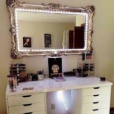run a line of string lights around an antique mirror you can find old mirrors at yard sales or a thrift shop go to michaels for some silver or gold leaf best lighting for makeup vanity