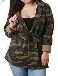 KISSMILK Women Camo Jacket Casual Plus Size ... - Amazon.com