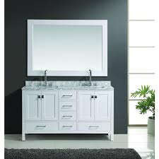 element contemporary bathroom vanity set: design element london  in w x  in d double vanity in white with marble vanity top and mirror in carrara white deca w the home depot