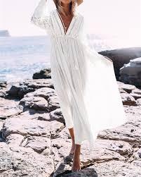 <b>Boho Deep V Neck</b> Hollow Out Long Dress Women Plus Size ...