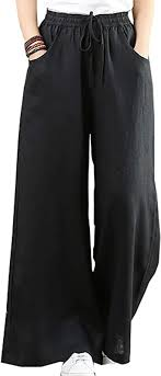 Hongsui Women's Spring and <b>Summer Cotton and Linen</b> Trousers ...