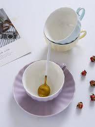 Buy 2Pcs <b>Coffee Cup Saucer</b> Set <b>Nordic</b> Style Ceramic Tea Cup ...