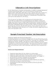 preschool teacher resume sample  tomorrowworld copreschool