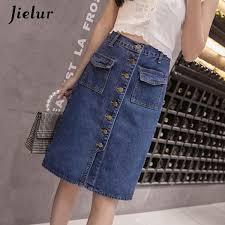 2019 <b>Jielur Korean Fashion</b> High Waist Plus Size Buttons Pockets ...