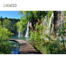 <b>Laeacco</b> Nature Backdrops Waterfall <b>Mountain</b> River <b>Tree</b> Wooden ...