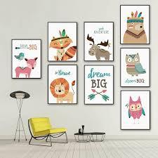 Nordic <b>Cartoon Animals</b> Decorative Painting <b>Canvas Picture</b> Oil ...