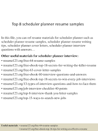planner scheduler resume cover letter equations solver top8schedulerplannerresumesles 150603143248 lva1 6891 thumbnail 4 jpg cb 1433342016