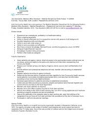 Medical Receptionist Job Description Resume Sales Associate Job