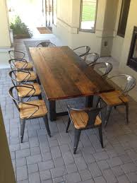 reclaimed wood large reclaimed wood and steel outdoor dining table