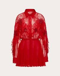 SHORT <b>EMBROIDERED CHIFFON</b> DRESS for Woman | Valentino ...