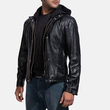<b>Mens Leather Jacket</b> With <b>Hood</b>