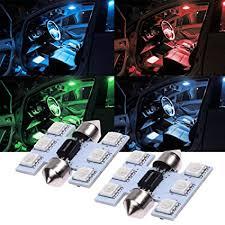 Amazon.com: <b>2Pcs</b> Colorful Car <b>LED</b> Light <b>5050 6SMD</b> T10 W5W ...