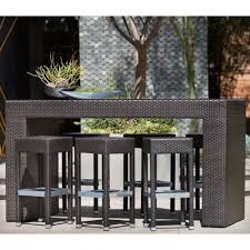 wicker bar height dining table: outback company bordeaux all weather wicker bar height patio dining set seats  by