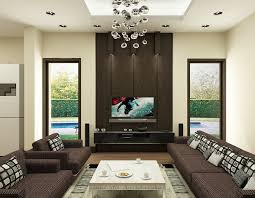 inspiring brown and white living room color ideas with wall flatscreen tv furnished with dark brown sofa and white table plus completed with beautiful glass beautiful brown living room