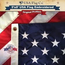 <b>American</b> Flags (5x8 foot) <b>Embroidered</b> Stars & Sewn Stripes - <b>USA</b> ...