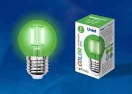 <b>Лампа</b> светодиодная (<b>LED</b>) «шар» E27 5Вт зеленая <b>Uniel</b>, <b>LED</b> ...