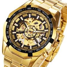 <b>Forsining Men Skeleton Automatic</b> Mechanical Watch Gold Skeleton ...