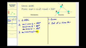Proof: The Sum of the <b>Exterior</b> Angles of a Triangle is 360 Degrees ...
