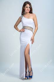 Dazzling Sequin <b>One Shoulder Sexy</b> Sheer White Slit Sheath Long ...