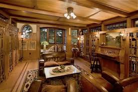 arts crafts style library traditional home office arts crafts home office