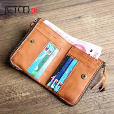 <b>AETOO Original retro</b> first layer leather men's short wallet wallet ...