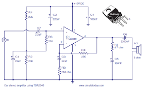 car stereo amplifier circuit using tda   electronic circuits    car audio amplifier circuit schematic and diagram