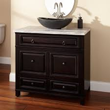 design basin bathroom sink vanities: black polished teak wood bathroom vanity with stone vessel brown pottery sink on stained wooden cabinet