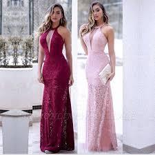 <b>Sexy</b> Mermaid <b>Lace Halter V</b>-<b>Neck</b> Slit Prom Dress   Evening Dress ...