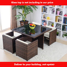household dining table set christmas snowman knife: outdoor patio wicker furniture all weather new resin  piece dining table amp chair set