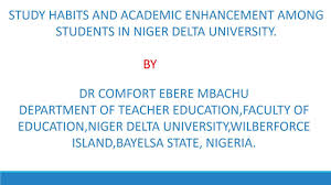study habit and academic enhancement among students in delta study habit and academic enhancement among students in delta university of bayelsa